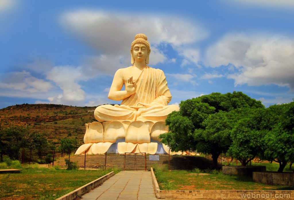 Standing on the statue of Lord Buddha