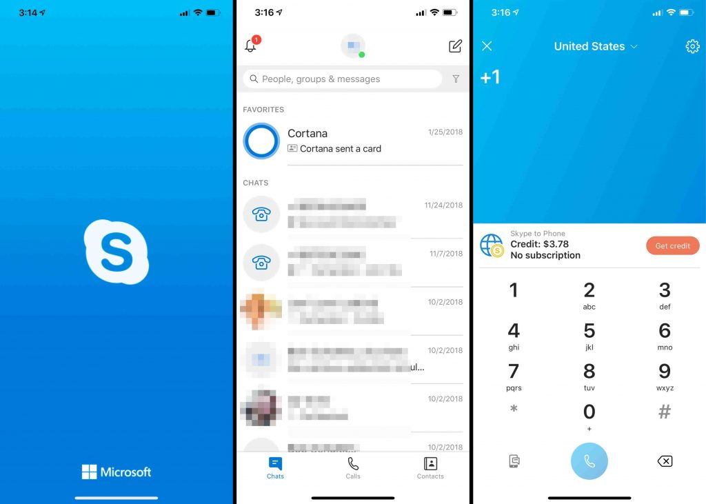 International phone calling via apps like Skype